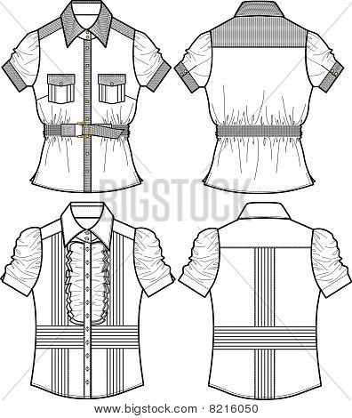 lady blouse with ribbon details
