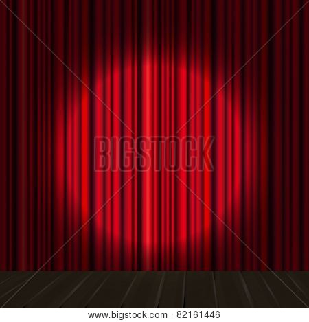 Red curtain vector background.