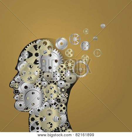 Human intelligence brain function with grunge texture made of machine cogs and gears representing ed