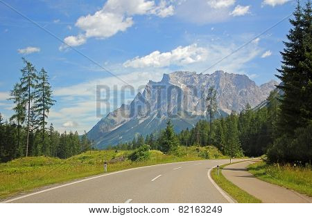 Alpine Road And Zugspitze, Germany