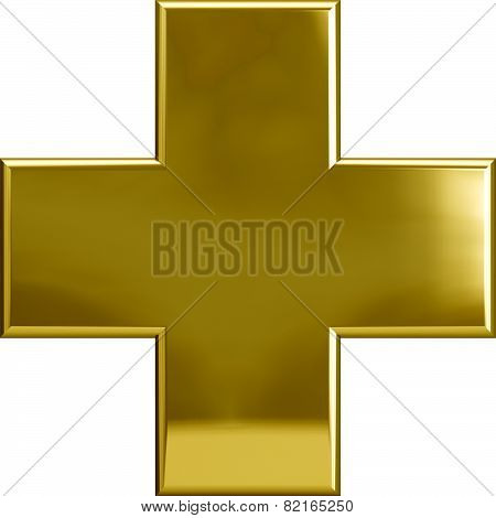Gold Metallic Cross Plus Symbol