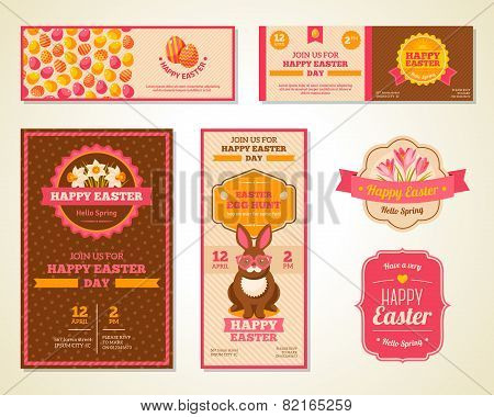 Vintage Happy Easter Greeting Cards Design.