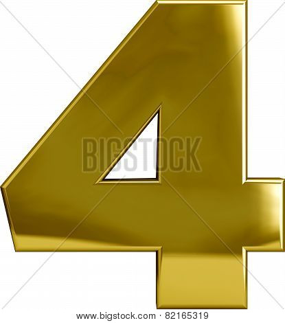 Gold Four - Metal Number 4