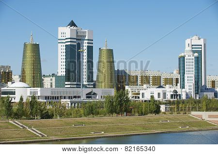 Exterior of the modern buildings in Astana, Kazakhstan.