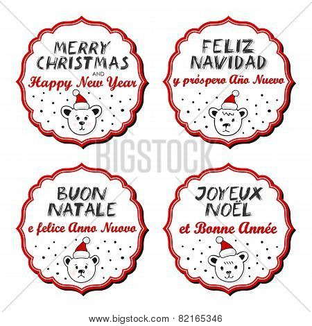 Polar bears in Santa Claus hats with Christmas wishes in English French Spanish Italian sticker set