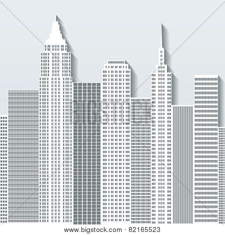Modern Cityscape Vector Illustration With Office Buildings And Skyscrapers. Part A.