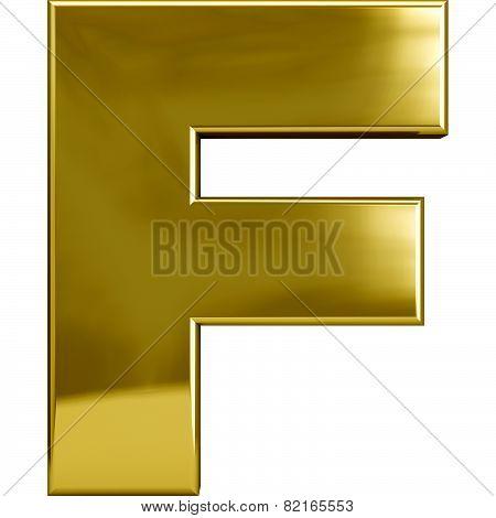 Gold Metal Letter F
