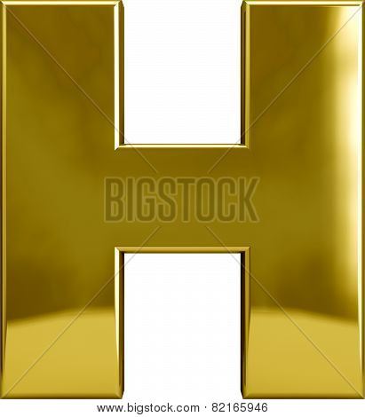 Gold Metal Letter H