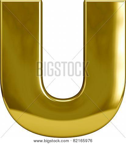 Gold Metal Letter U
