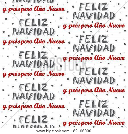 Merry Christmas and Happy New Year in Spanish winter holiday seamless pattern on white