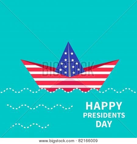 Presidents Day background Paper boat. Dash line.