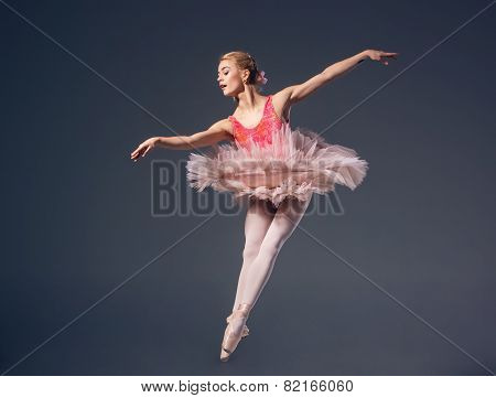 Beautiful female ballet dancer on a grey background. Ballerina is wearing  pink tutu and pointe shoe