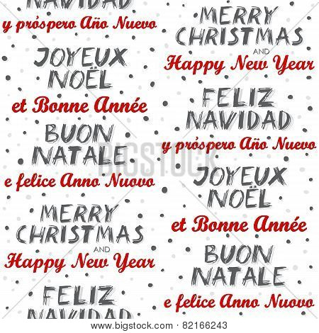 Merry Christmas and Happy New Year in English Spanish French and Italian pattern