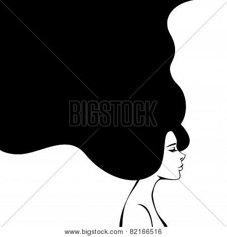 Abstract Fashion Woman with Long Hair. Vector Illustration.