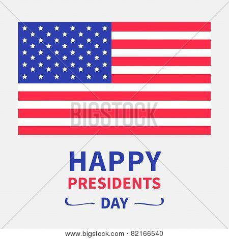 American flag Presidents Day background flat design Card Isolated