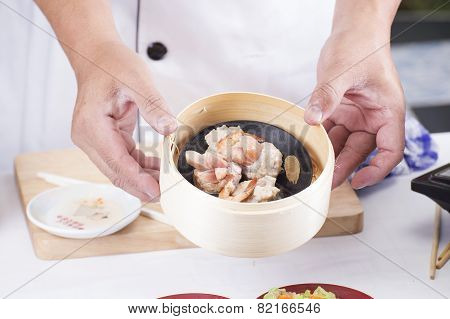 Chef Presented Steam Mince Pork And Sausage Chinese Dim Sum