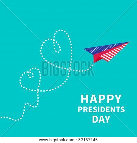 Presidents Day background Paper plane. Two dash line hearts