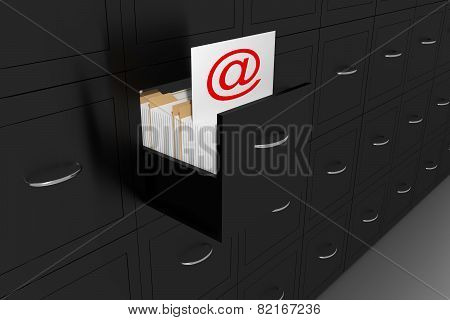 Opened Black File Cabinet White Document At Sign Illustration