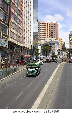 Villazon Avenue and Plaza del Estudiante in La Paz, Bolivia