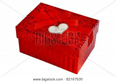 Red Gift Box With Satin Ribbon Bow