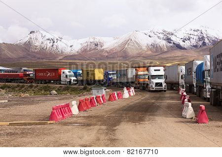 Trucks Standing on Bolivian-Chilean Border