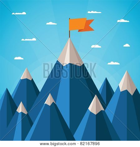 Vector Success Concept With Mountain Landscape