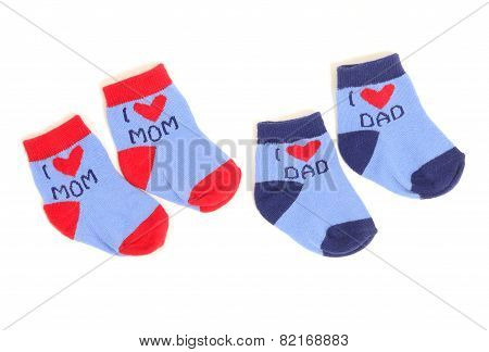 Cute Little Baby Socks Isolated On White.