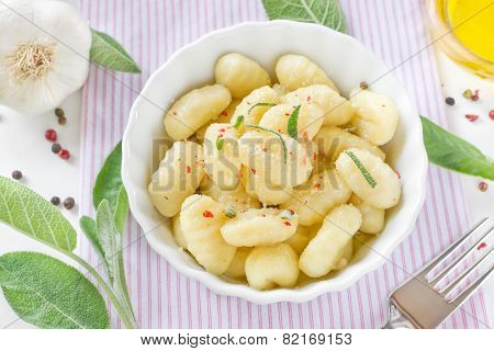 Delicious Italian Gnocchi With Sage Leaves And Olive Oil
