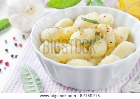 Italian Gnocchi With Sage Leaves And Olive Oil