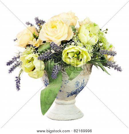 Bouquet From Artificial Flowers Arrangement Centerpiece In Old Vase.