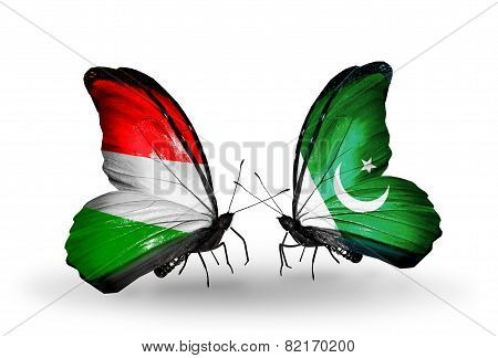 Two Butterflies With Flags On Wings As Symbol Of Relations Hungary And Pakistan
