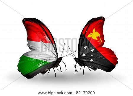 Two Butterflies With Flags On Wings As Symbol Of Relations Hungary And Papua New Guinea