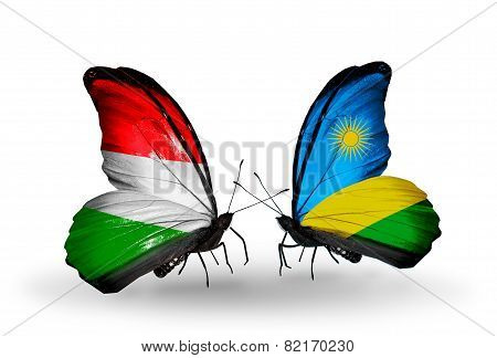 Two Butterflies With Flags On Wings As Symbol Of Relations Hungary And Rwanda