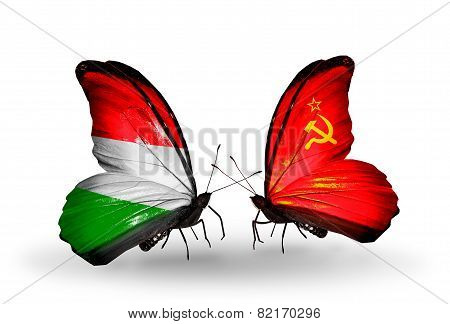 Two Butterflies With Flags On Wings As Symbol Of Relations Hungary And Soviet Union