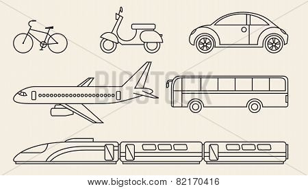 Line Graphics Set Of Different Personal And Public Transport