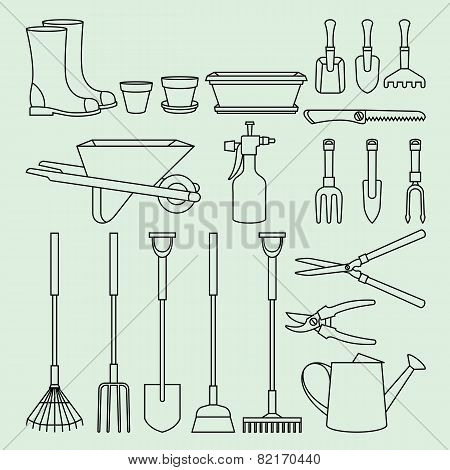 Linear Illustration Set Of Garden Tools And Accessories