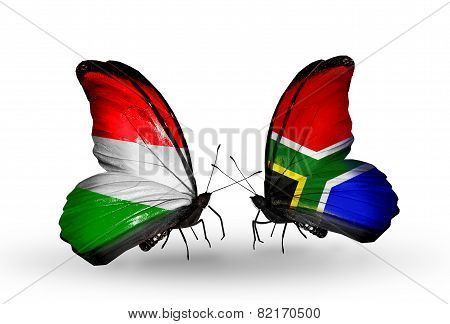 Two Butterflies With Flags On Wings As Symbol Of Relations Hungary And South Africa