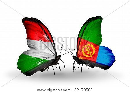 Two Butterflies With Flags On Wings As Symbol Of Relations Hungary And Eritrea
