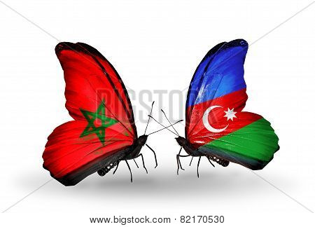 Two Butterflies With Flags On Wings As Symbol Of Relations Morocco And Azerbaijan