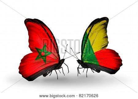 Two Butterflies With Flags On Wings As Symbol Of Relations Morocco And Benin