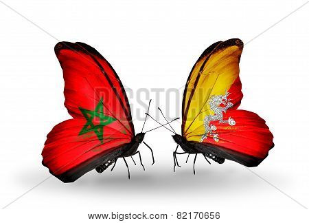 Two Butterflies With Flags On Wings As Symbol Of Relations Morocco And Bhutan