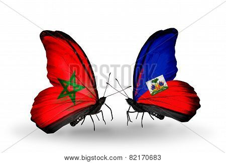 Two Butterflies With Flags On Wings As Symbol Of Relations Morocco And Haiti