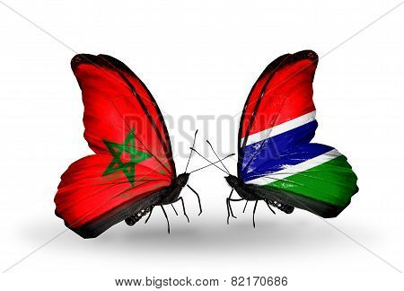 Two Butterflies With Flags On Wings As Symbol Of Relations Morocco And Gambia