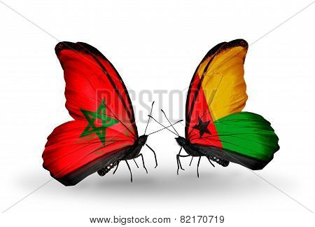 Two Butterflies With Flags On Wings As Symbol Of Relations Morocco And Guinea Bissau