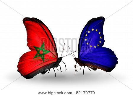 Two Butterflies With Flags On Wings As Symbol Of Relations Morocco And European Union
