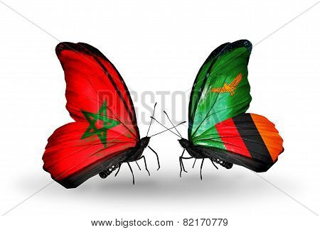 Two Butterflies With Flags On Wings As Symbol Of Relations Morocco And Zambia