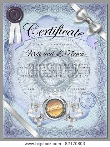 Vintage Certificate Template With Detailed Border And Calligraphic Elements On Blue Paper In Vector