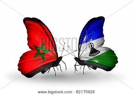 Two Butterflies With Flags On Wings As Symbol Of Relations Morocco And Lesotho