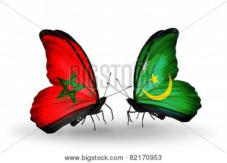 Two Butterflies With Flags On Wings As Symbol Of Relations Morocco And Mauritania