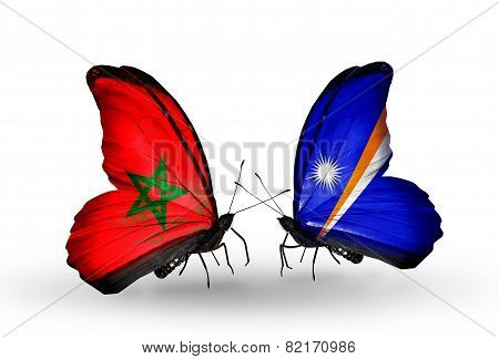 Two Butterflies With Flags On Wings As Symbol Of Relations Morocco And Marshall Islands